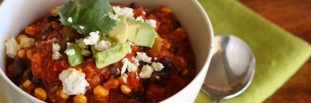 Bean, Pumpkin, Quinoa Vegetarian Chili